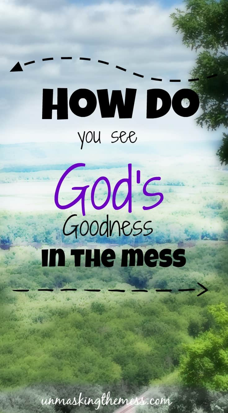 How Do You See God's Goodness in the Mess? Problems are always surrounding us. Violence happening on the news. Is there any good in this world? Why is God? We can see sign of God's goodness everywhere.
