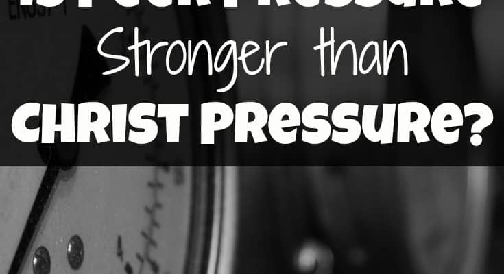 Is Peer Pressure Stronger than Christ Pressure? Peer pressure is real even when we're grown up. How does if affect our relationship with God? The more we become of the world, the less we become like God.