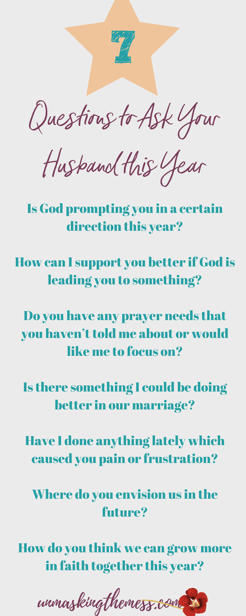 7 Questions I'm Asking My Husband This Year. In order to know how God is leading my husband in his faith life, I have these 7 questions to ask husband this year. Getting in tune with God and my spouse #communication #Christian #marriage #connection #God #faith