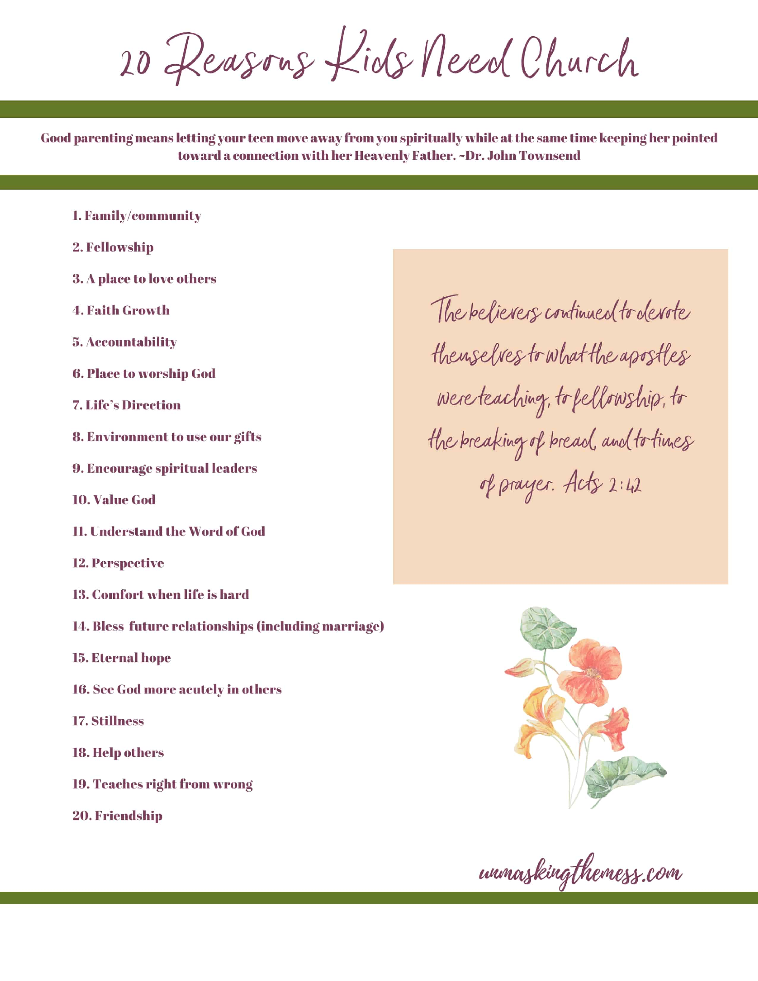 Printable-20 Reasons Church is the Best Environment for Kids. Teaching our kids why they need church. What can they learn there? How does church help in life? Ideas, quotes and tips on church for kids.