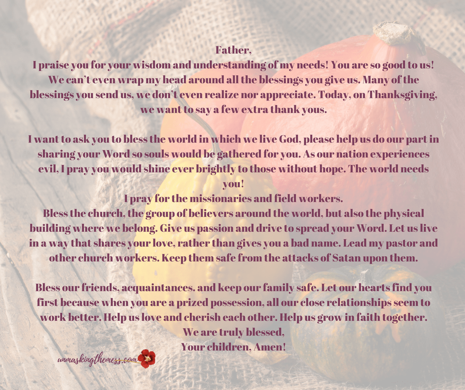 A Thanksgiving Prayer (Free printable prayer) Are you put on the spot and need a prayer for your Thanksgiving meal?