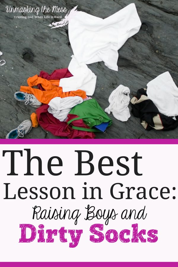The Best Lesson in Grace: Raising Boys and Dirty Socks. Just like my boys, I mess up daily and yet God sends blessings to me. Raising boys is teaching me the best lessons of God's grace to me. #Christian #tobeagentlemen #tobemen #challenges