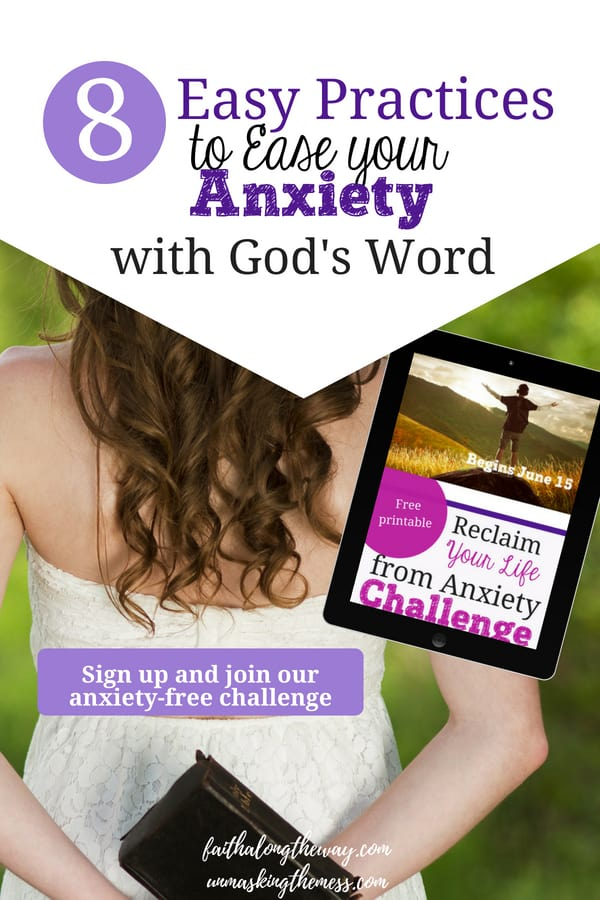 8 Easy Practices to Ease Your Anxiety with God's Word. Anxiety can disrupt our lives and wreck havoc in the relationships around us. By using God's Word for anxiety relief, changing our thought patterns and replacing the lies, we can find peace using God's Word for anxiety relief. #anxiety #anxietyattack #panicattack #tipsforanxiety