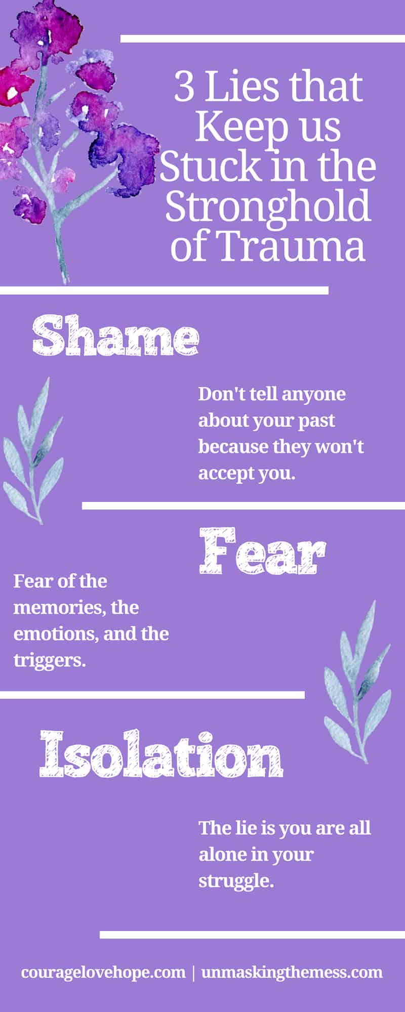 Want to Recover from Trauma: Watch for These 3 Lies. All of us have been through tough times and carry the pain with us. We can make strides to recover from trauma when we notice these three lies. #trauma #recovery #healing #triggers #emotional #survivor #overcomer